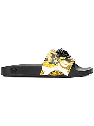 42a0bed69a94 Versace Signature print Medusa slides - Yellow