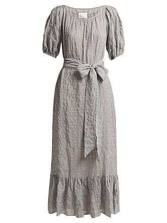 54f7de6af5 Lisa Marie Fernandez Puff Sleeve Seersucker Dress - Womens - Black Stripe