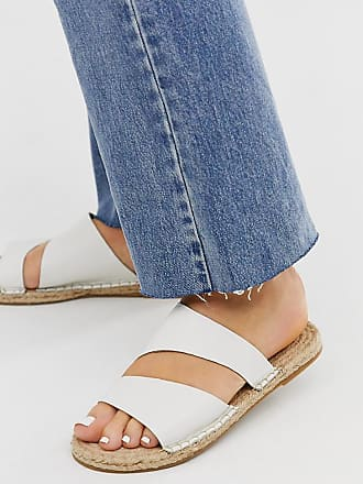 Asos Wide Fit Vienna leather espadrille flat sandals in white