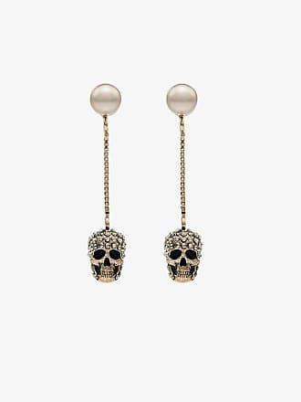 Alexander McQueen gold tone pave skull earrings
