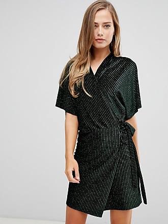 300a56707d Flounce London wrap front velvet kimono mini dress in multi stripe