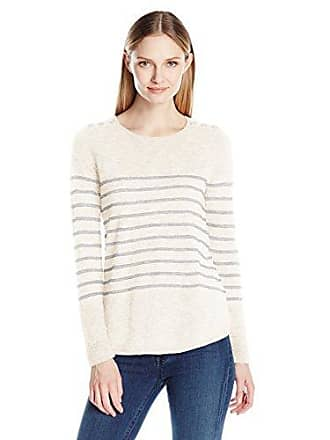G.H. Bass & Co. Womens Two-Color Slub Knit Sweater, Ivory Combo, XL
