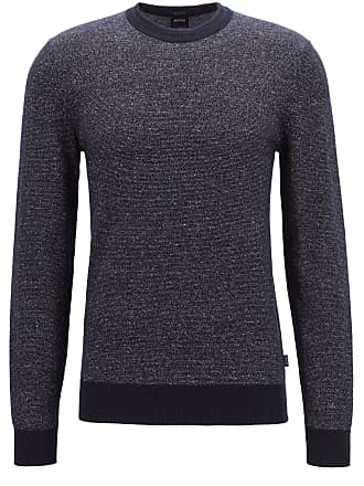 BOSS Knitted sweater in a two-tone cotton-linen blend