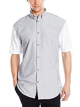 Zanerobe Mens 7 Foot Tall Short Sleeve Button Down Shirt, Grey/White, XX-Large