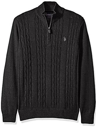 U.S.Polo Association Mens Cable Knit 1/4 Zip Sweater, Charcoal Heather, Medium