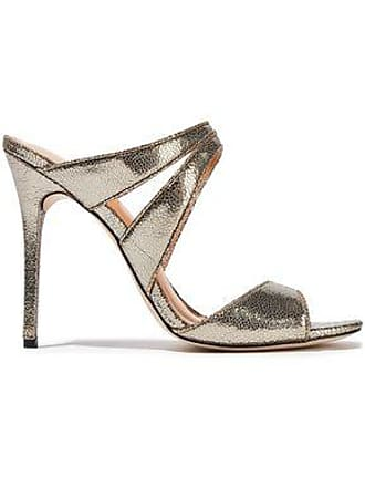Halston Heritage Halston Heritage Woman Brittany Cutout Metallic Cracked-leather Sandals Platinum Size 7.5
