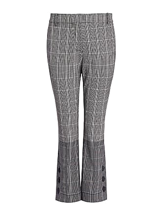 Derek Lam Two-toned Plaid Flannel Side Button Flare Cropped Pants Check Multi