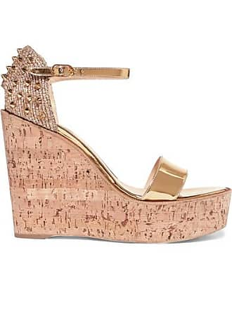 9732fb12b347 Christian Louboutin Bellamonica 120 Spiked Metallic Jute And Leather Wedge  Sandals - Gold