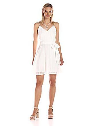 J.O.A. JOA Womens Low Neck Strappy Dress, White, Small