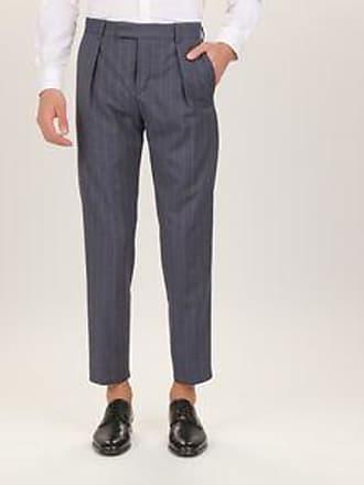 bbe082816bcc57 Calvin Klein Pantaloni 100% Lana Vergine Taglio Sciancrato Righe Grigio  Scuro