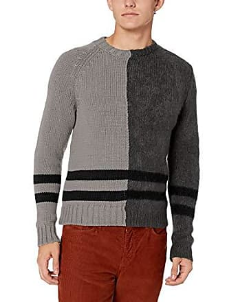 e1b9af883796c6 French Connection Mens Long Sleeve Mohair Stripe Sweater, mid Grey/Charcoal  Black, S