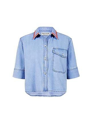 être cécile Denim Cropped Shirt Light Blue