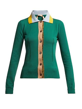 N°21 Point Collar Cotton Blend Cardigan - Womens - Green Multi