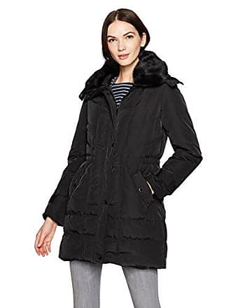 8ac184706860 Kenneth Cole Womens Poly Oxford Hooded Down Coat with Removeable Faux Fur  Collar, Black,