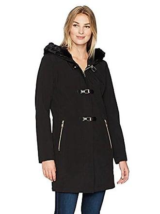 Ivanka Trump Womens Soft Shell Toggle Coat with Faux Fur, Black L