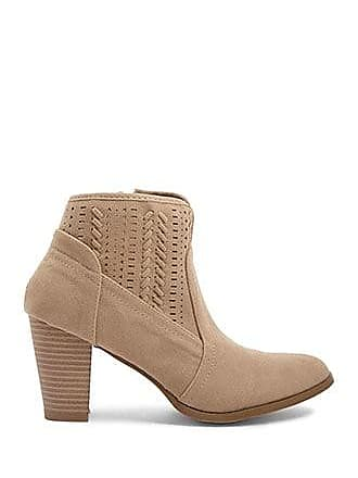 Forever 21 Forever 21 Faux Suede Cutout Booties Taupe