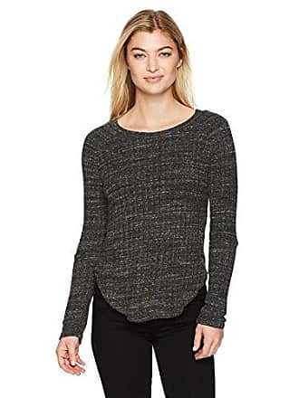 Monrow Womens Sweater Rib Top W/Elbow Slash, Charcoal XS Extra Small