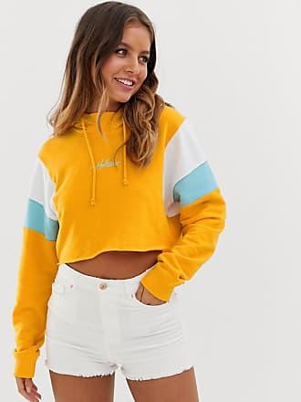 Hollister crop logo hoodie-Yellow