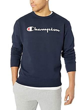 Champion Mens Graphic Powerblend Fleece Crew, Navy Script, Small