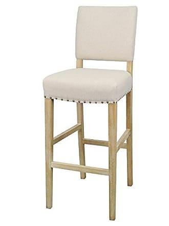 New Pacific Direct Arthur Fabric Bar Stool,Distressed Natural Wood Legs,Light Sand,Fully Assembled
