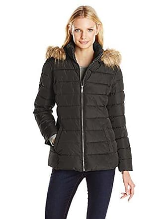 20b663c4641d Tommy Hilfiger Womens Short Front Zip Puffer with Fur Trimmed Hood