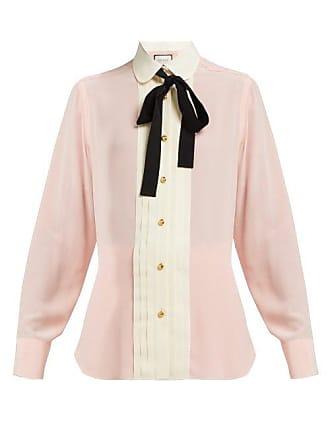 3c3e303eba8 Gucci Pleated Silk Crepe Blouse - Womens - Pink Multi