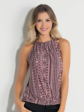 Quintess Blusa Feminina Étnico Cava Americana Malha Viscose Quintess tamanho:xxg;cor:rosa