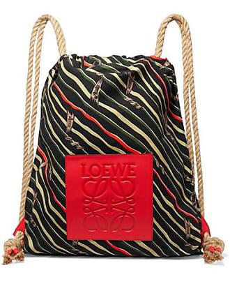 Loewe + Paulas Ibiza Yago Leather-trimmed Printed Cotton-canvas Backpack - Black