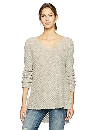 Three Dots Womens Honeycomb mid Loose Sweater, Sand Large