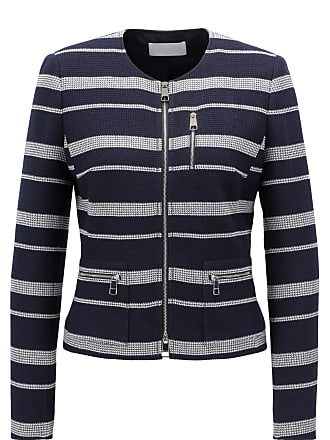 BOSS Slim-fit blazer with textured stripes and zipper detail