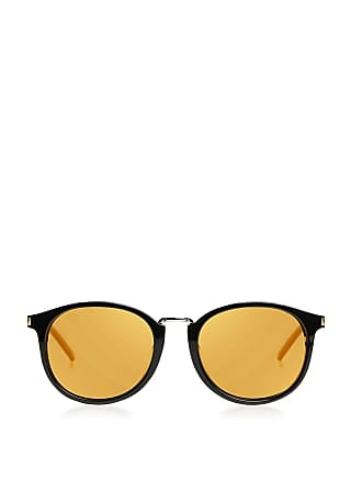 Saint Laurent Mirrored Round Sunglasses Black Yellow