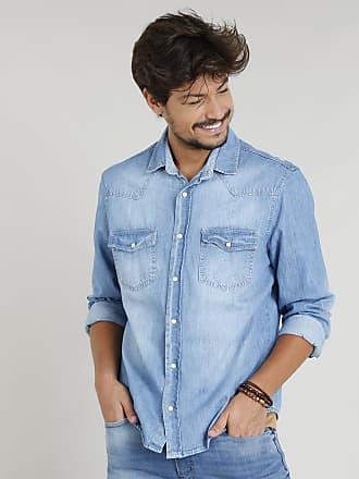 6e50835dafc25 C&A Camisa Jeans Masculina com Recortes Manga Longa Gola Esporte Azul Claro