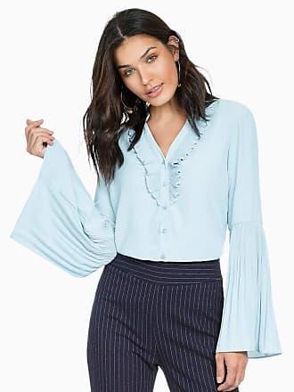 Principessa Camisa Feminina Azul com Plissados Principessa Michelle