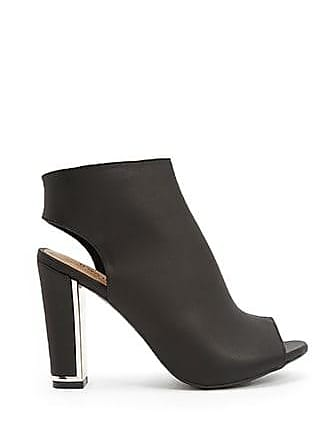 Forever 21 Forever 21 Faux Leather Peep-Toe Cutout Booties Black