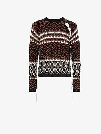 Raf Simons Fairisle cutout mohair wool blend jumper