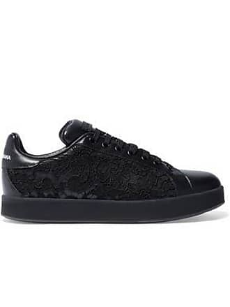 03ba0d02 Dolce & Gabbana Dolce & Gabbana Woman Lace-paneled Leather Sneakers Black  ...
