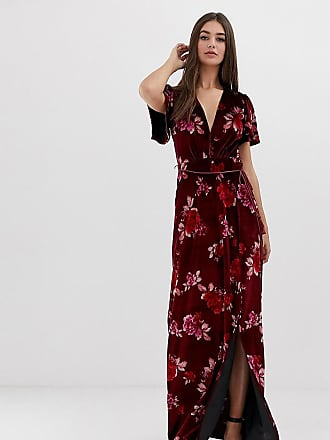 a0765ddc448 Asos Tall ASOS DESIGN Tall velvet floral maxi dress with tassel belt - Multi