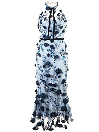 Marchesa embellished floral lace dress - Blue