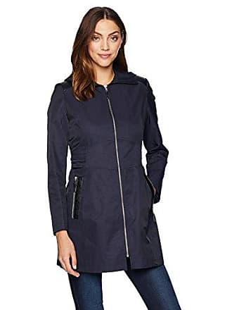 Via Spiga Womens Zip Front Hooded Fit and Flare Lightweight Trench Coat, Navy, Large