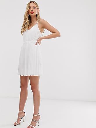 dc7ee60180 Asos Robe courte caraco plissée avec taille froncée - Blanc