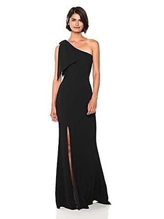 Dress The Population Womens Georgina One Shoulder Bow Detail Trumpet Gown Long Dress, Black, xs