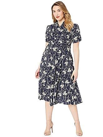 Unique Vintage Plus Size 1940s Style Camilla Midi Dress (Navy/White Floral) Womens Dress