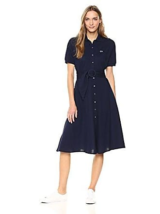 1a337b3c Lacoste Womens Short Sleeve Classic Pique Belted Polo Dress, Ef3089, Navy  Blue, 8