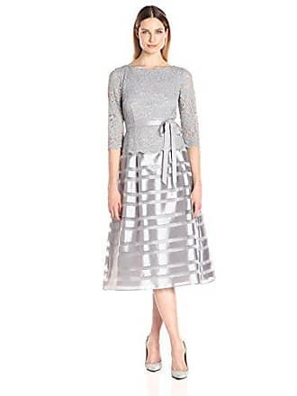 Alex Evenings Womens Tea Length A-Line Dress with Tie Belt (Petite and Regular Sizes), Silver, 6