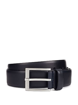 BOSS Smooth-leather belt with brushed-silver buckle
