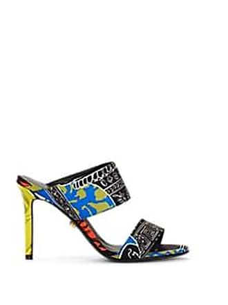 Versace Womens Greek-Print Twill Mules - Blue Size 7