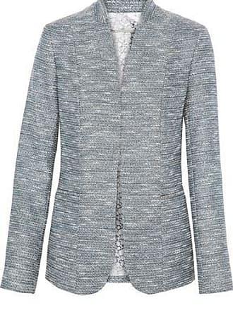 Elie Tahari Elie Tahari Woman Tori Metallic Tweed Blazer Light Blue Size 2