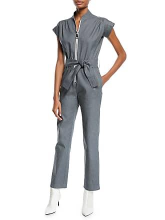 eac342806a28 Carolina Ritzler Soul Large-Zip Cap-Sleeve Straight-Leg Denim Jumpsuit