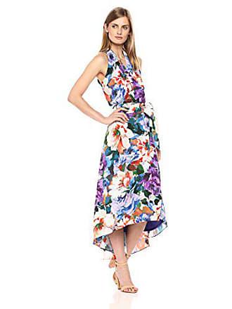 Chetta B Womens Tropical Print Halter Dress, deep Grape Multi 4