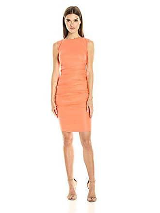 Nicole Miller Womens Lauren Stretch Linen Dress, Aloha Coral, 4